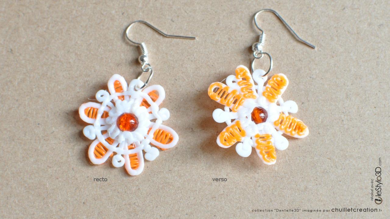 Bijoux lotx3 f01 orange 02 boucles oreilles