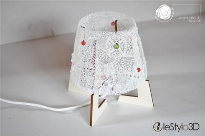 """Lampe à poser """"dentelle3D"""" - blanche 1"""