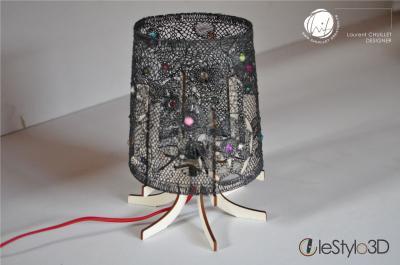 """Lampe à poser """"dentelle 3D"""" - noire"""