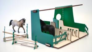 jouet écurie verte en bois pour enfant fabriqué en france