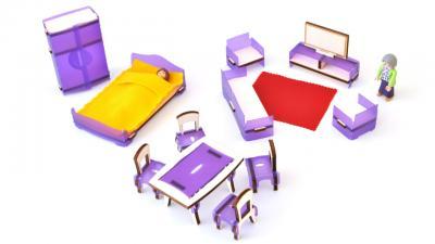 mobilier en bois pour mini poupée fabriqué en france